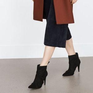 ZARA Rocker Ankle Boots:Black , US 8/EUR 39